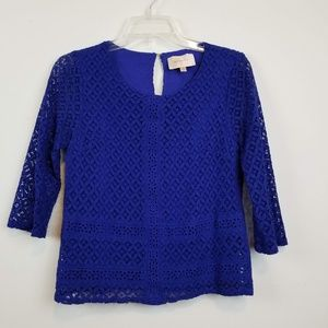 Skies are Blue stitch fix lace blue 3/4 sleeve top